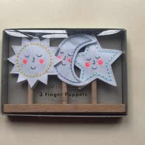 Meri Meri finger puppets. Sun, moon and star.